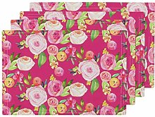 UPNOW Magenta Floral Heat Resistant Placemat