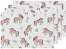 UPNOW Unicorn Heat Resistant Placemat Unicorn Pink