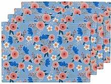UPNOW Vintage Flowers Heat Resistant Placemat
