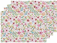 UPNOW Watercolor Flowers Heat Resistant Placemat