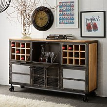 Urban Industrial Bar Cabinet - Medium Wood