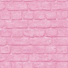 Urban Pink Brick Effect Embossed Texture Modern