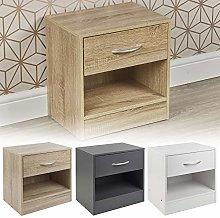 URBNLIVING 1 Drawer Compact Wooden Bedroom Bedside
