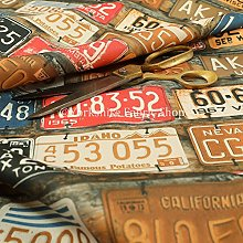 USA Car License Number Plate Retro Pattern