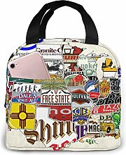USA Craft Beer Map Lunch Bag,Reusable Insulated