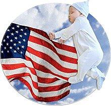 USA flag, Kids Round Rug Polyester Throw Area Rug