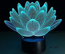 USB Lotus Flower Table Lamp 3D 7 Colors Christmas