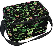 Use7 Black Plant Cactus Watercolor Insulated Lunch