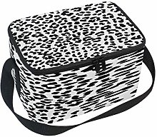 Use7 Black White Leopard Print Insulated Lunch Bag