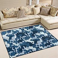 Use7 Blue Camouflage Military Area Rug Rugs for