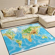 Use7 Blue World Map Area Rug Rugs for Living Room