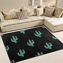 Use7 Cartoon Cactus and Flower Area Rug Rugs for