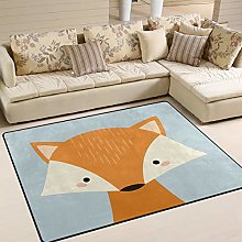 Use7 Cartoon Cute Fox Area Rug Rugs for Living