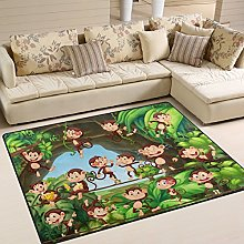 Use7 Cartoon Forest Monkey Area Rug Rugs for