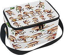 Use7 Cartoon Hipster Monkey Insulated Lunch Bag