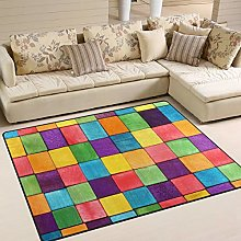 Use7 Colorful Block Rainbow Area Rug Rugs for