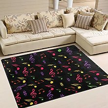 Use7 Colorful Music Notes Area Rug Rugs for Living