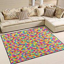Use7 Colorful Plaid Rainbow Area Rug Rugs for
