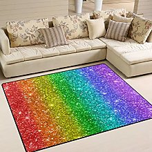Use7 Colorful Rainbow Glitter Area Rug Rugs for