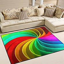 Use7 Colorful Trippy Rainbow Area Rug Rugs for