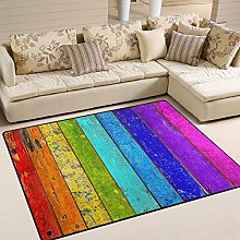 Use7 Colorful Wooden Plank Rainbow Area Rug Rugs