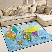 Use7 Colorful World Map Area Rug for Living Room