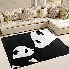 Use7 Cute Panda Black Area Rug Rugs for Living