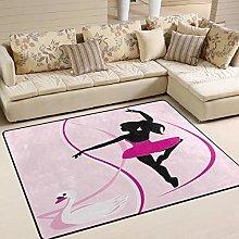 Use7 Dancing Girl Swan Area Rug Rugs for Living