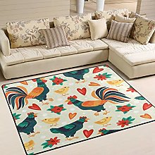 Use7 Funny Vintage Chicken Rooster Area Rug Rugs