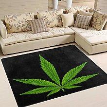 Use7 Green Cannabis Mariajuana Leaf Black Area Rug