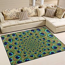 Use7 Green Peacock Feather Area Rug for Living
