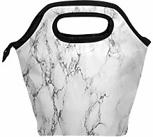 Use7 Hipster Gray Marble Insulated Lunch Bag Tote