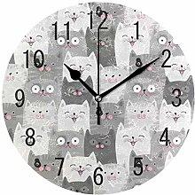 Use7 Home Decor Funny Gray Cat Kitten Round