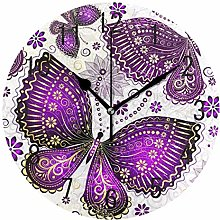Use7 Home Decor Purple Flower Butterfly Round