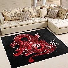 Use7 Japanese Red Dragon Area Rug Rugs for Living