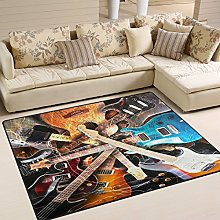 Use7 Magic Electric Guitar Music Area Rug Rugs for