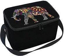 Use7 Mandala Floral Elephant Black Art Insulated