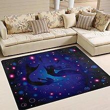 Use7 Mermaid Ocean Area Rug Rugs for Living Room