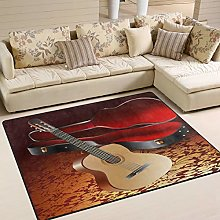 Use7 Musical Guitar Area Rug Rugs for Living Room