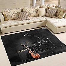 Use7 Musical Instruments Guitar Black Area Rug
