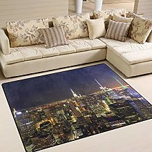 Use7 New York City Skyline Night Area Rug Rugs for