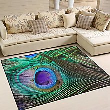 Use7 Peacock Feather Abstract Area Rug Rugs for