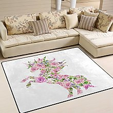 Use7 Pink Floral Print Unicorn Area Rug for Living