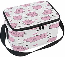 Use7 Pink Pig Polka Dot Insulated Lunch Bag Tote