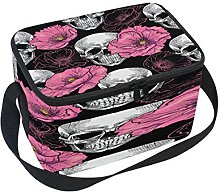 Use7 Pink Poppy Flower Sugar Skull Insulated Lunch