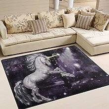 Use7 Purple Unicorn Star Forest Area Rug for