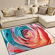 Use7 Rainbow Rose Flower Area Rug Rugs for Living