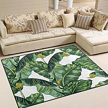 Use7 Tropical Monstera Leaves Area Rug Rugs for