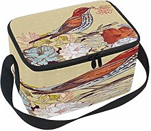 Use7 Vintage Flower Bird Insulated Lunch Bag Tote