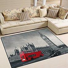 Use7 Vintage London City Big Ben Red Bus Area Rug